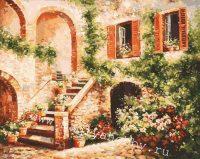 Раскраска по номерам  «Цветущий дворик»