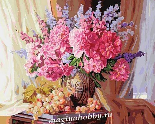 Раскраска по номерам  «Виноградно-пионовое»