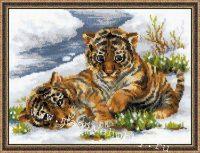 "вышивка крестом набор ""Тигрята в снегу"""