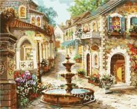 Раскраска по номерам «Городской фонтанчик»