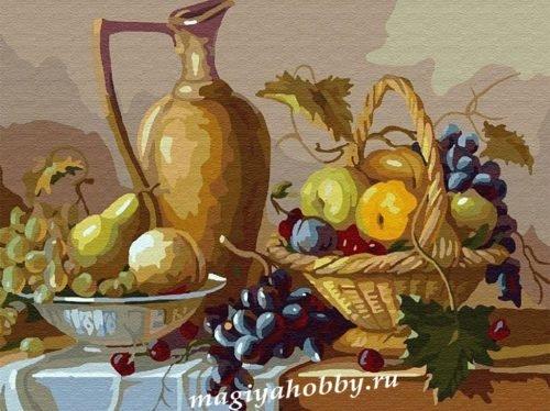 Раскраска по номерам  «Кувшин и фрукты»