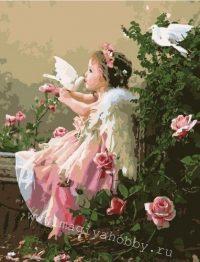 """раскраска по номерам """"Поцелуй ангела"""""""