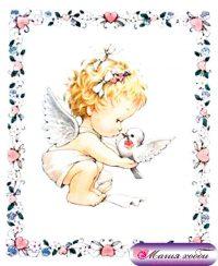 Ангел с голубем в рамке