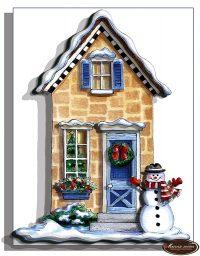 Сказочный домик и снеговик