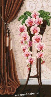 """вышивка крестом набор  """"Ваза с орхидеями"""""""